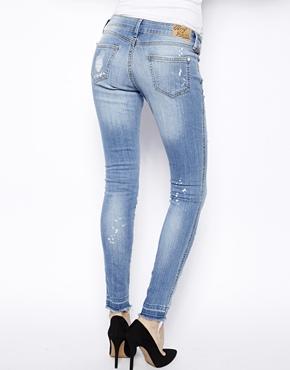 Mango | Mango Distressed Patch Print Jeans at ASOS