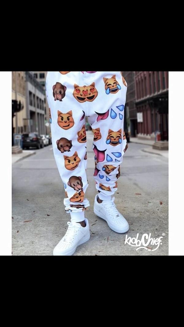 pants emoji print fashion jeans emoji print emoji pants emoji print wolftyla white emoji pants