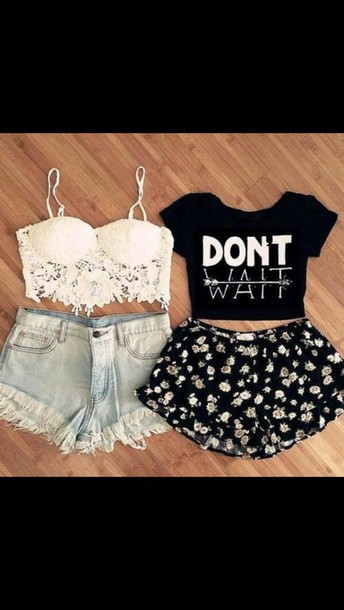 tank top white crop tops High waisted shorts