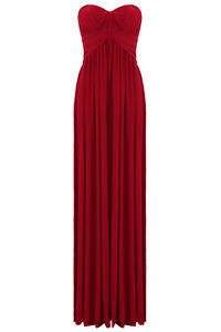Long Red Grecian Strapless Detachable Straps Evening Party Prom Maxi Dress | eBay