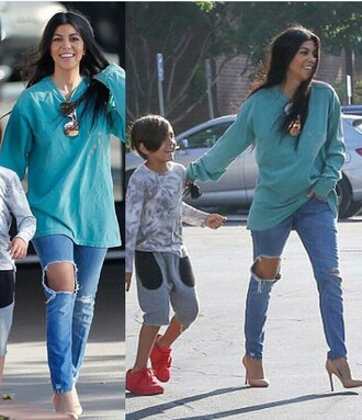 shirt kourtney kardashian kardashians ripped jeans jeans streetstyle flashes of style celebrity style blue top long sleeves