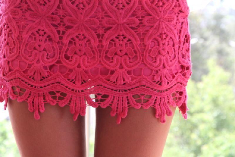 Saboskirt Pink Lace Crochet Mini Skirt Size S | eBay