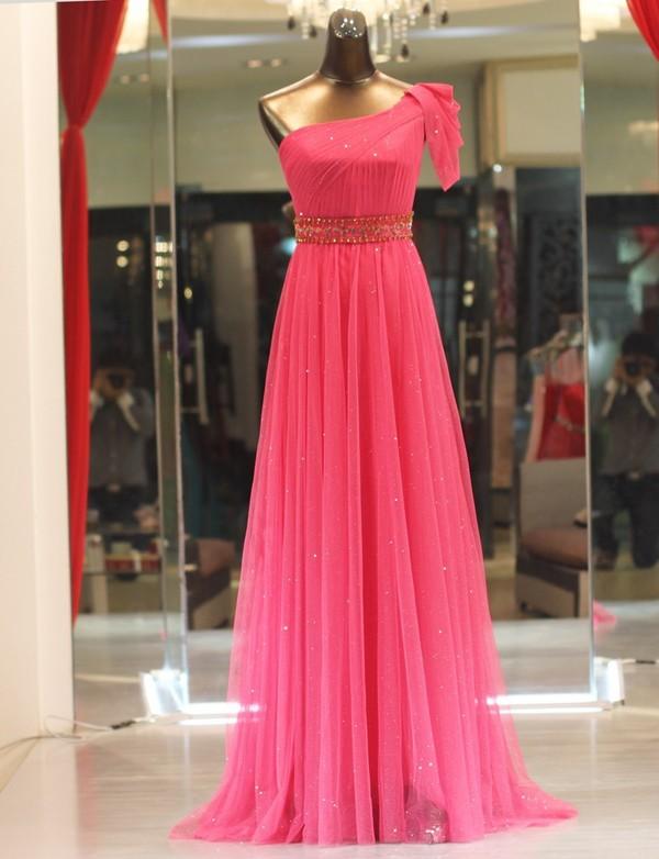 dress hot pink dress one shoulder dress