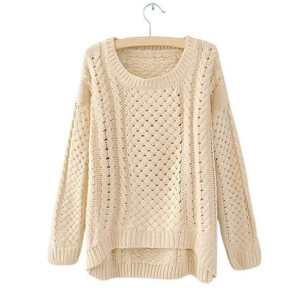 New Women Hot Round Neck Hollow Knitted Pullover Jumper Loose Knitwear Sweater | eBay