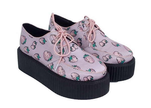 shoes platform shoes platform shoes creepers creepy kawaii strawberry purple shoes kawaii grunge shoes pink
