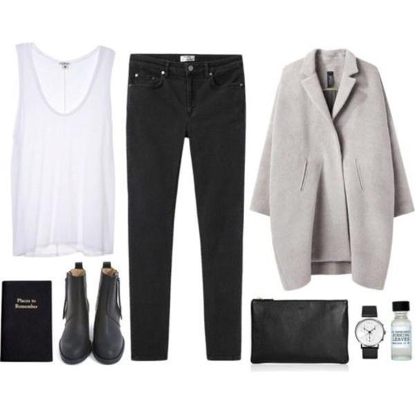 coat white t-shirt black pants grey watch boots shirt shoes