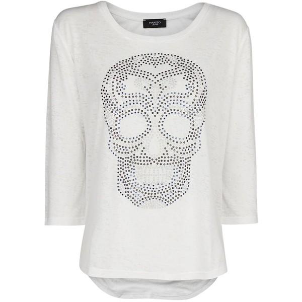Mango Skull Devore T-shirt, White - Polyvore