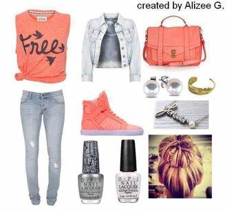 t-shirt veste sac chaussures jeans collier