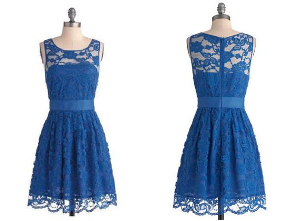 dress blue lace bridesmaid dreses
