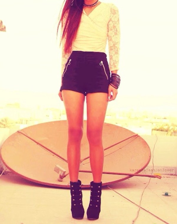 shirt white lace long sleeves shorts shoes