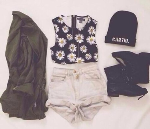 jacket shirt shoes hat blouse sunflower crop tops daisy shorts black cute edgy green army top beanie necklace boots white green denim cardigan