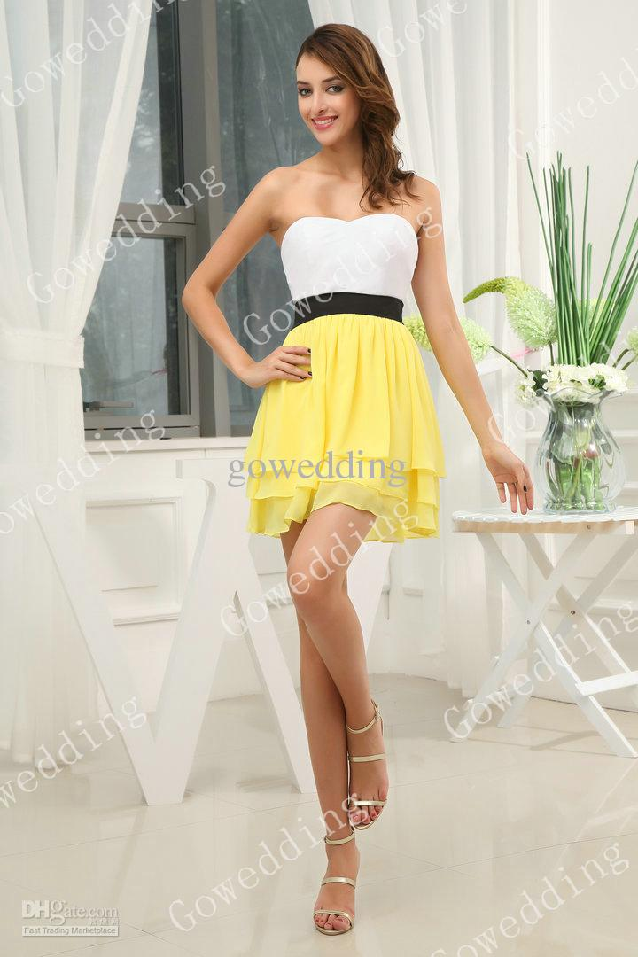 Wholesale Lovely white yellow strapless ruffle black sash Mini Junior Bridesmaid dresses party prom gowns D312, Free shipping, $96.3/Piece | DHgate Mobile