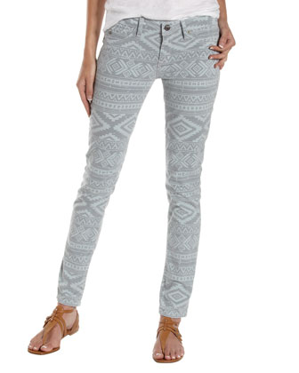Fade to Blue Tribal-Print Skinny Jeans, Heather - Neiman Marcus Last Call