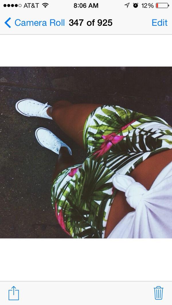 shorts jungle print hawaiian flowered shorts