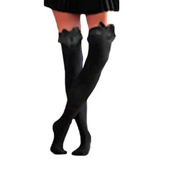 Amazon.com: Garter Top W/Bow Black Thigh High Over The Knee Socks: Clothing