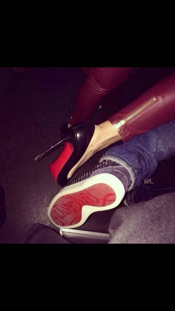 shoes sneakers louboutin red high heels