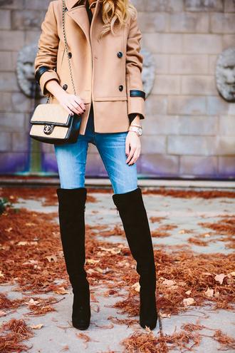 krystal schlegel blogger jeans pea coat camel thigh high boots suede boots chanel bag jacket shoes bag jewels sunglasses