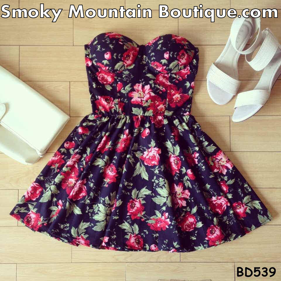 Annie Floral Bustier Dress with Adjustable Straps - Size XS/S/M BD 539 - Smoky Mountain Boutique