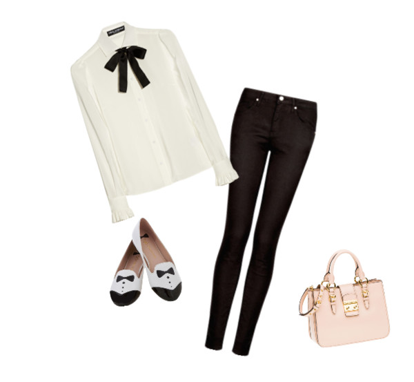 blouse pink purse black skinny jeans white shirt tuxedo shoes chiffon blouse the bow-tie