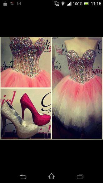 dress pink dress white strass paillettes l pastel goth