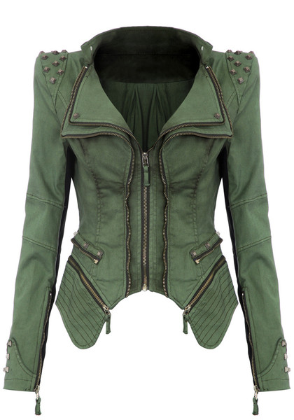 Studded Shoulder Denim Blazer - Green