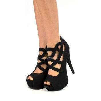 Cleo Cleo Black Cutout Caged Heels on Wanelo
