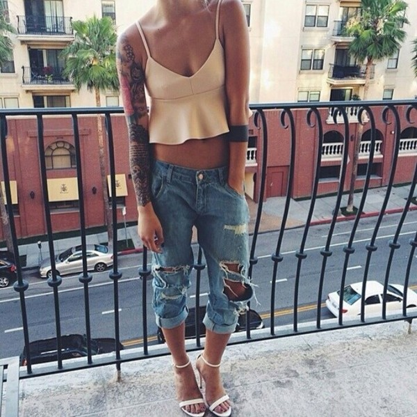 jeans top shoes tank top
