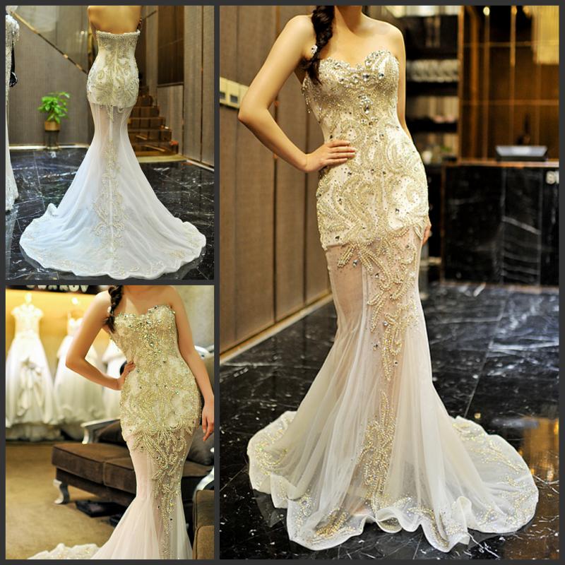 abendkleid ultimativen Luxus kristall formal abendkleid Toast die Braut verheiratet formelle kleidung w12