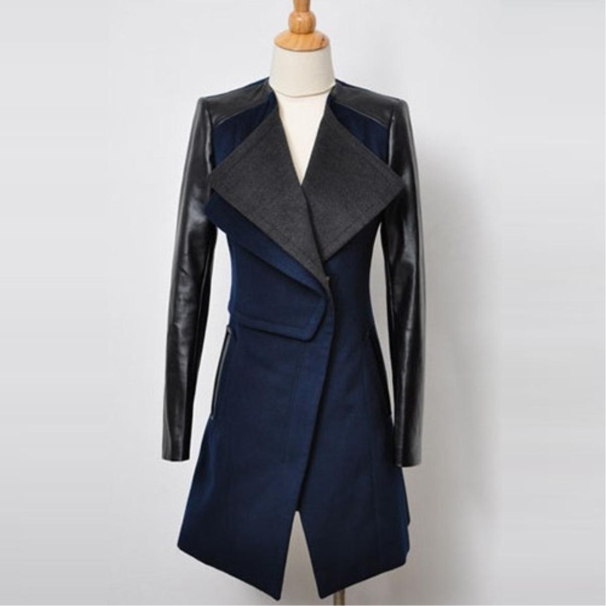 Lapel Split Joint Slim Woolen Coat,Cheap in Wendybox.com