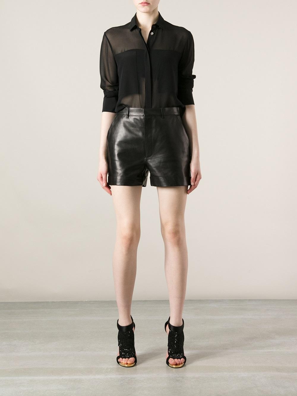 Saint Laurent Leather Shorts - Luisa World - Farfetch.com
