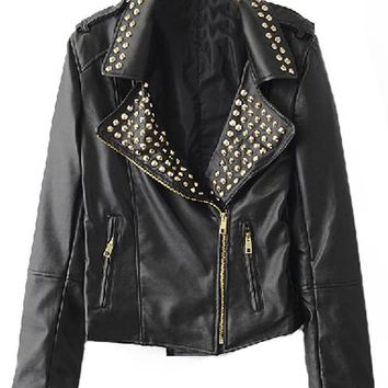 Sheinside Black Rivet Embellished Lapel PU Leather Jacket on Wanelo