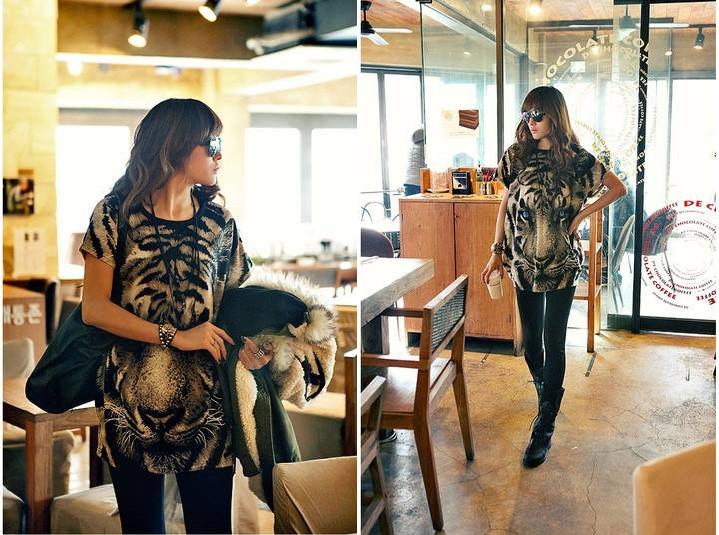 Korean Women Fashion Wild Printed Tiger Head Loose T Shirt | eBay