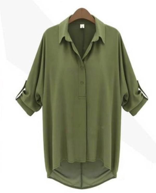 shirt green chiffon blouse