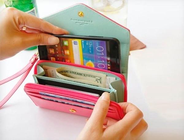 bag smart wallet wallet wallet phone case wallet pink smartphone