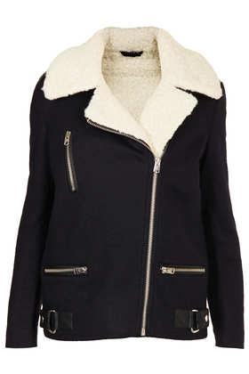 Wool Biker Jacket - Jackets & Coats  - Clothing  - Topshop