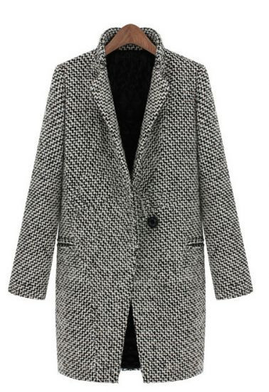 Street Style Black Plaid Notch Stand Collar Oversize Houndstooth Coat | Goodnight Macaroon
