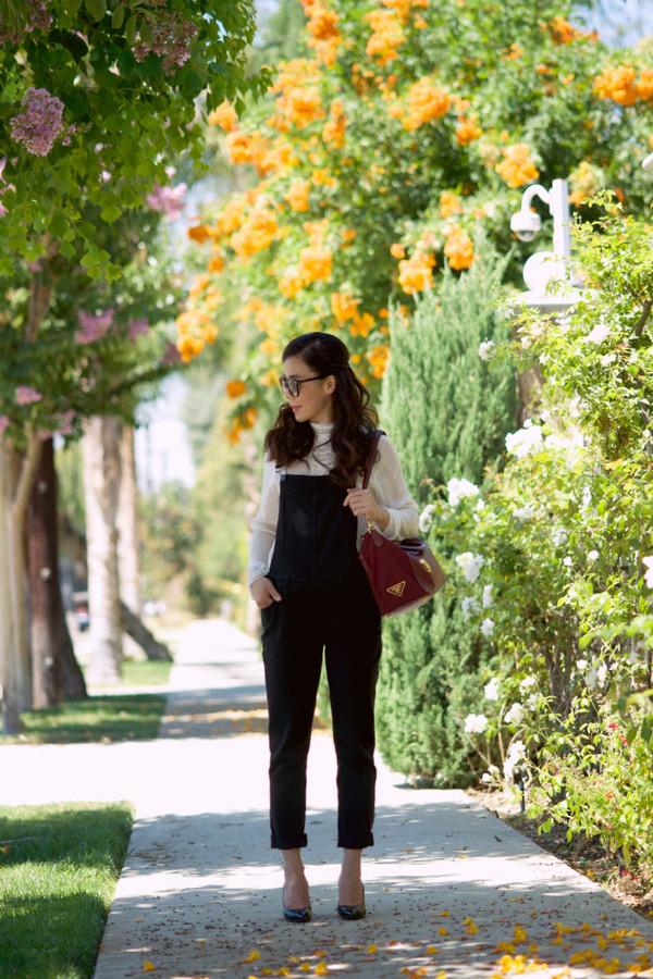 hallie daily shoes blouse bag sunglasses make-up