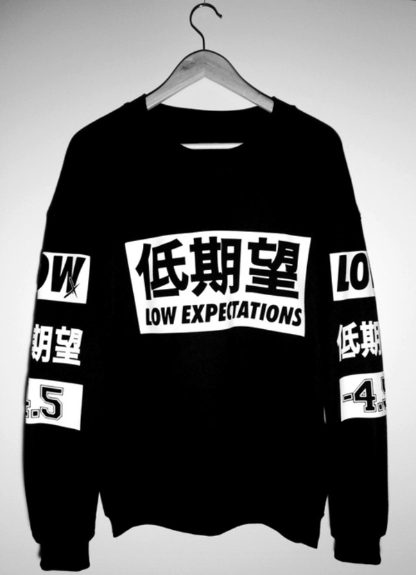 shirt black black and white crewneck sweater low expectations printed sweater