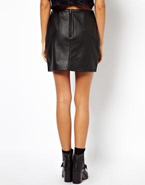 ASOS   ASOS Mini Skirt in Leather Look at ASOS