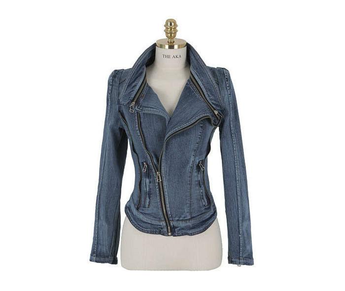 New Denim Motorcycle Biker Jacket Coat Lapel Oblique Zip Slim Short Blue Medium   eBay