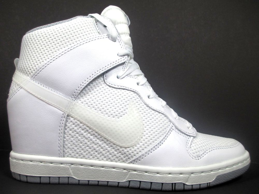 Nike Dunk Sky Hi Women's Size 7 5 Shoes White Wolf Grey Hidden Wedge 644877 100 | eBay