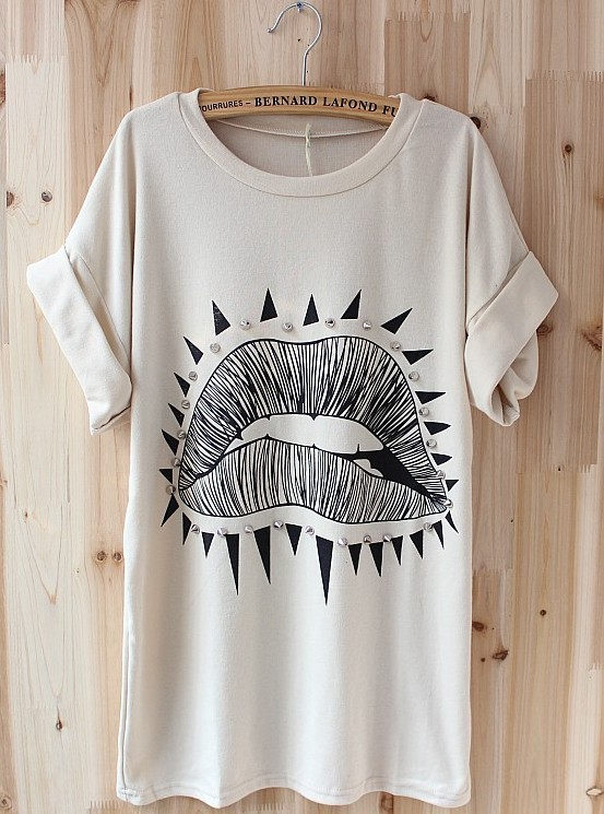 Big Lips Pattern Roll Sleeve T-shirt / vicone