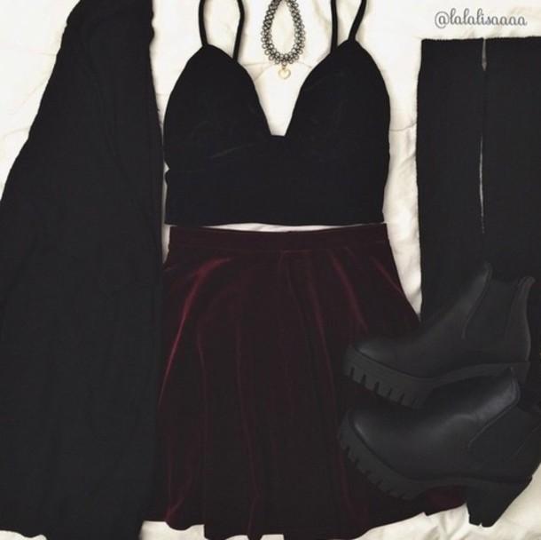 shoes matte clothes boots skirt crop tops velvet skirt