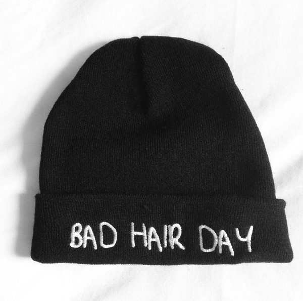hat beanie black black beanie bad hair day hat beenie colthes t-shirt clothes bad hair day bad hair day white warm warmth quote on it swag yolo hipster funny tumblr badhairday brandy melville blonde hair brunette cute pretty winter outfits fall outfits lovely hot cool tumblr girl cold hoodie one direction funny bad hair day beanie