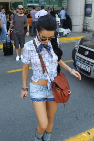 shirt blue ligh blue purple blouse crop top new clothes summer spring grey baby blue checkered white lether bag shorts black casual summer outfits