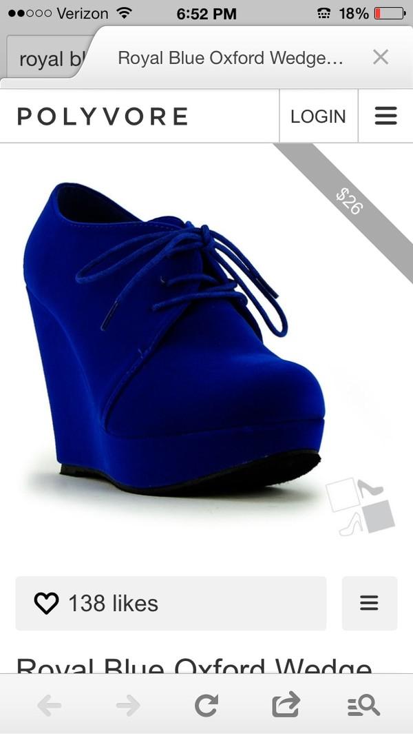 shoes royal blue wedges suede oxfords lace up