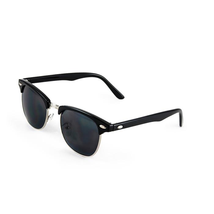 Half Frame Vintage Clubmaster Style Classic Sunglasses Black Silver RX S063 | eBay