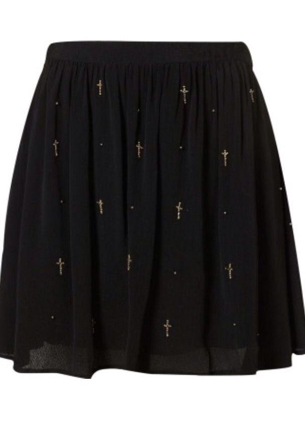 Black Topshop Beaded Cross Flippy Skirt   eBay
