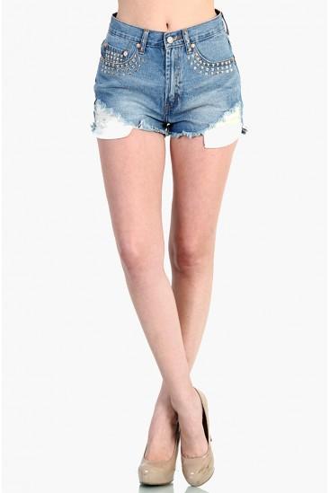 LoveMelrose.com From Harry & Molly | Studded High Waist Shorts