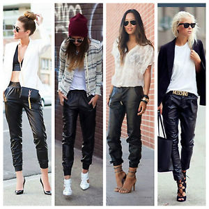 Faux Leather Jogging Pants Relaxed Fit Sweatpants Pockets Elastic Waist Ankle   eBay